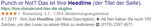 Screenshot einer Google Suchergebnisseite mit Snippet